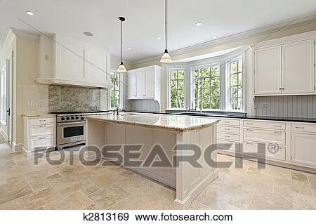 stock fotograf kueche mit granit insel k2813169. Black Bedroom Furniture Sets. Home Design Ideas