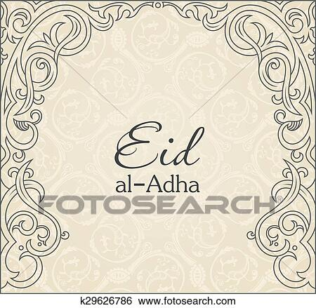 Clip Art of Feast of the Sacrifice greeting vector background ...