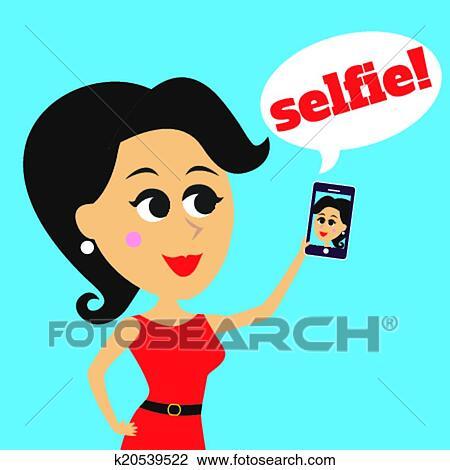 剪贴画 - 女孩, 做, selfie
