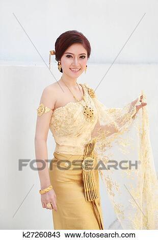 图吧- 妇女, 带, 泰国人, 衣服.