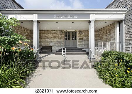 Stock Photography of Funeral home with stone entry ...