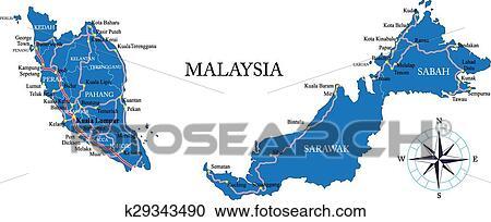 地囹kΈ�_剪贴画 - 马来西亚, 地图 k29343490 - 搜寻边框,底纹