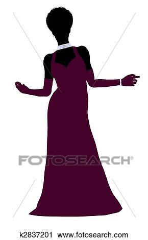 clipart african american cinderella silhouette illustration fotosearch search clip art illustration murals