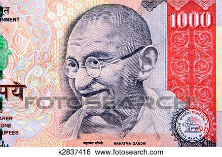 Rupee Note Size Gandhi on 1000 Rupee Note