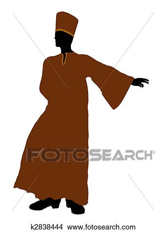 手绘图 - 男性, 穿上长袍图片