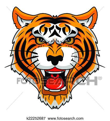 clip art of tiger head k22252687 search clipart illustration rh fotosearch com tiger head clipart images clipart tiger head