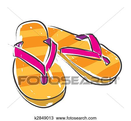 Drawing of Slippers k2849013 - Search Clipart, Illustration, Fine ...