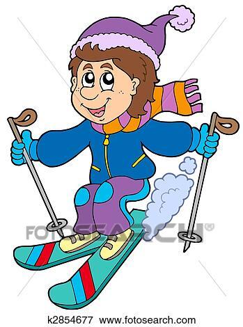 stock illustration of cartoon skiing boy k2854677 - search eps