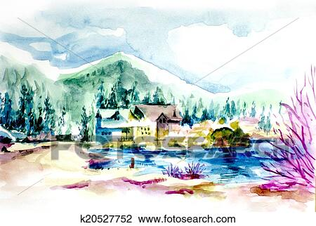 Clip Art Of House Resort By The Lake In Mountain Illustration
