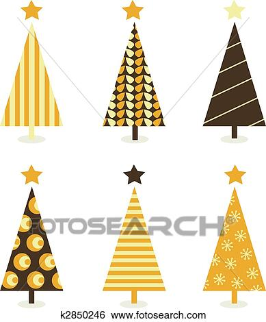 clip art retro christmas tree isolated on white fotosearch search clipart illustration - Retro Christmas Trees