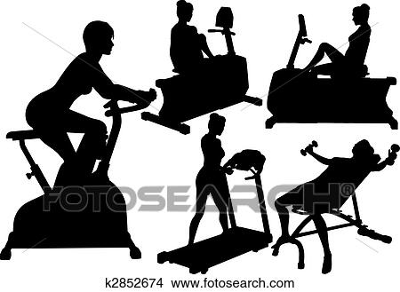 clipart of women gym fitness exercise workouts k2852674 search clip art illustration murals. Black Bedroom Furniture Sets. Home Design Ideas