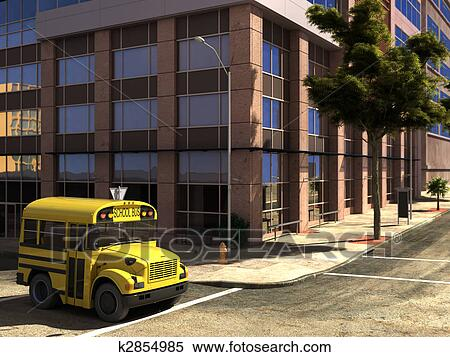 Stock Illustration of funny concept school bus at the ... Concept School Bus