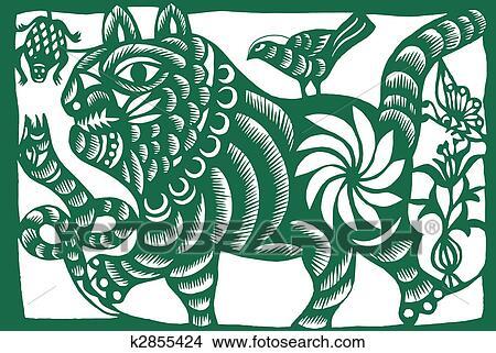 zeichnungen chinesischer tierkreis von tiger k2855424 suche clip art illustrationen. Black Bedroom Furniture Sets. Home Design Ideas
