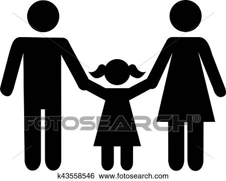 clip art of father daughter mother icon k43558546 search clipart rh fotosearch com father mother daughter clipart father daughter dance clipart