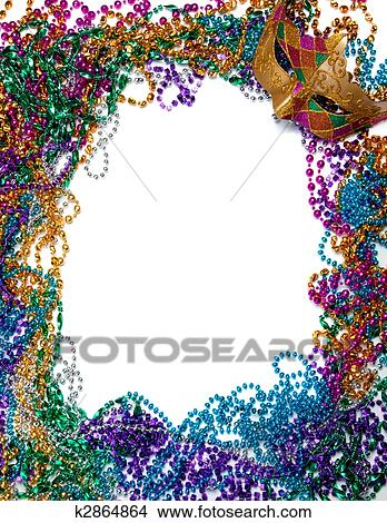 Stock Photo of Border made of mardi gras bead and mask on white ...
