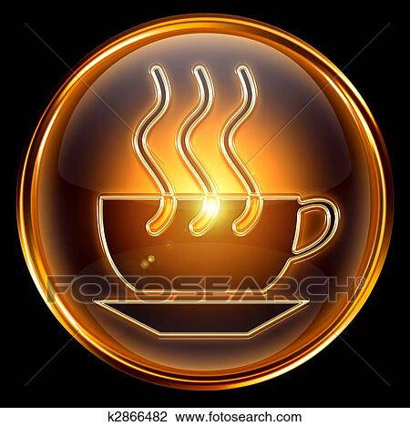 Clip Art of Coffee cup icon gold, isolated on black ...