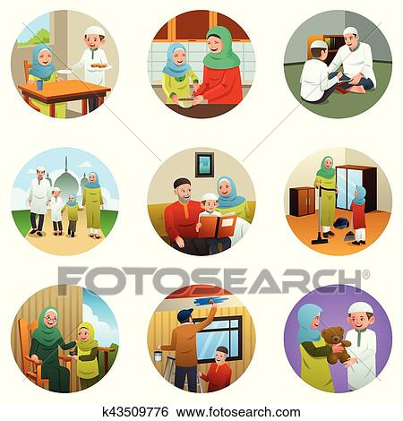 Clip Art Of Muslim Family Doing Different Activities K43509776