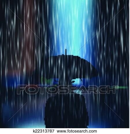 clipart a homme une parapluie pendant a sto k22313787 recherchez des cliparts des. Black Bedroom Furniture Sets. Home Design Ideas