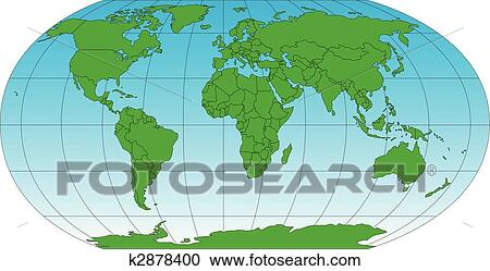 Clipart Of World Robinson Map With Countries And Longitude - Latitude lines map