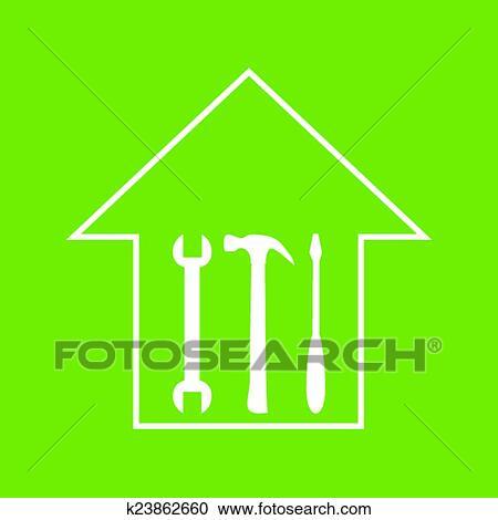 剪贴画 房子, repair., 怀特, 在上, 绿色