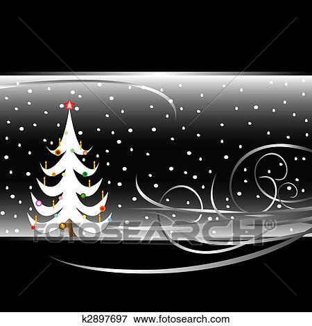stock illustration schwarz wei weihnachtsbaum karte. Black Bedroom Furniture Sets. Home Design Ideas