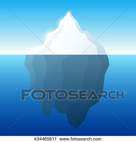 Clipart of Iceberg illustration and background. Iceberg on water ...