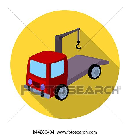 Drawings Of Tow Truck Icon In Flat Style Isolated On White