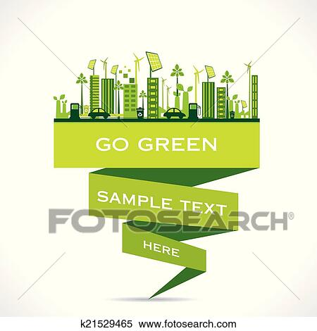 Clipart of green city building or go green k21529465 for Mural go green