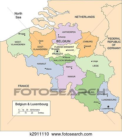 Clipart of Belgium and Luxembourg with Administrative Districts and