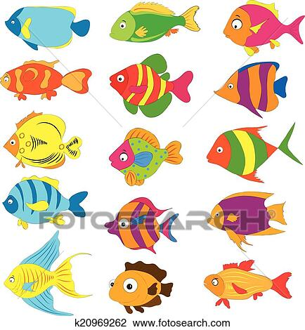 Clipart of set of tropical fishes k20969262 search clip - Clip art animali marini ...