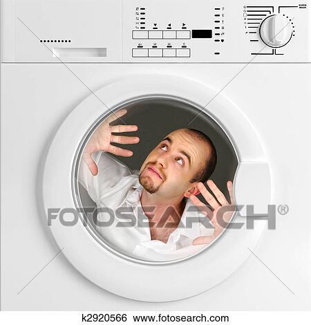 Banque d 39 images rigolote portrait de homme int rieur for Interieur machine a laver