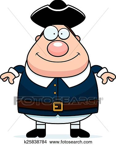 Clipart of Happy Cartoon Colonial Man k25838784 - Search ...