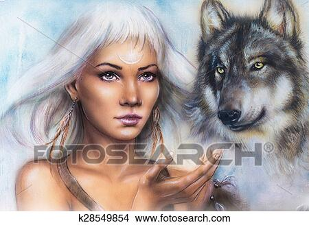 dessins portrait femme ornement tatouage sur figure spirituel loup et plumes. Black Bedroom Furniture Sets. Home Design Ideas