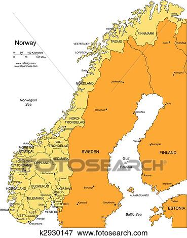 Clip Art Of Norway With Administrative Districts And Surrounding - Norway map eps