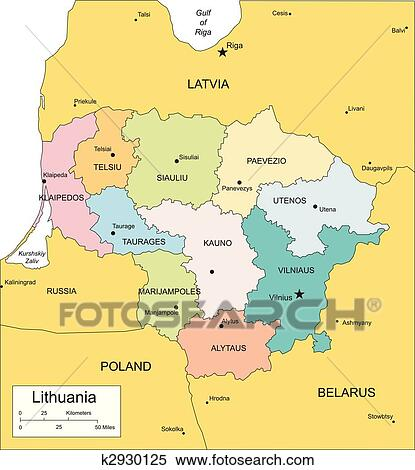 Clipart of Lithuania with Administrative Districts and Surrounding