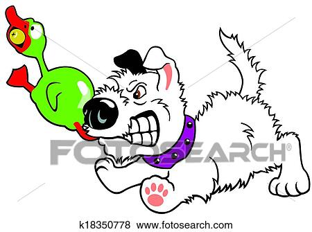 clip art karikatur hund gnaw spielen ente k18350778. Black Bedroom Furniture Sets. Home Design Ideas