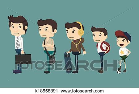 Clipart of evolution of man from child k18558891 - Search Clip Art ...