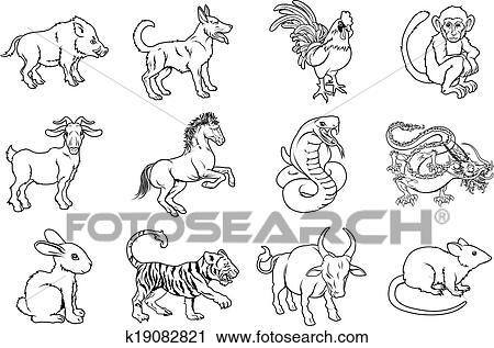 clipart chinesischer sternzeichensymbole k19082821 suche clip art illustration wandbilder. Black Bedroom Furniture Sets. Home Design Ideas