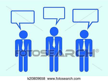 Clip Art of Man People Thinking Talking Conversation Icon Symbol ...