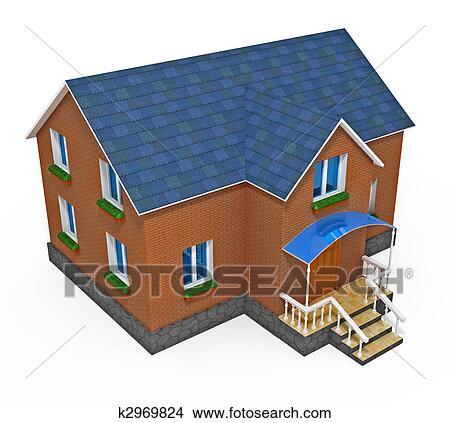Dessins nouveau priv maison isol blanc fond for Dessin fondation maison