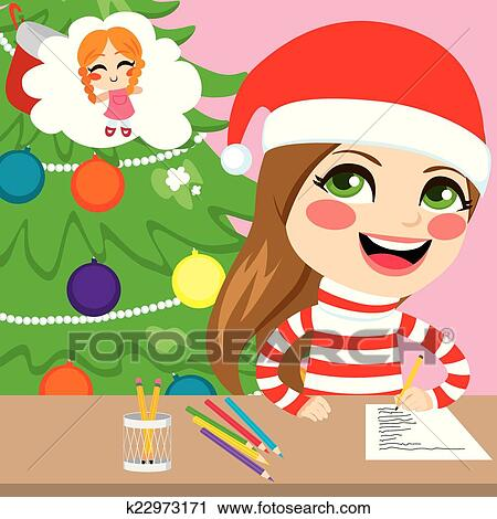 Clipart of Girl Writing Christmas Letter k22973171 - Search Clip ...