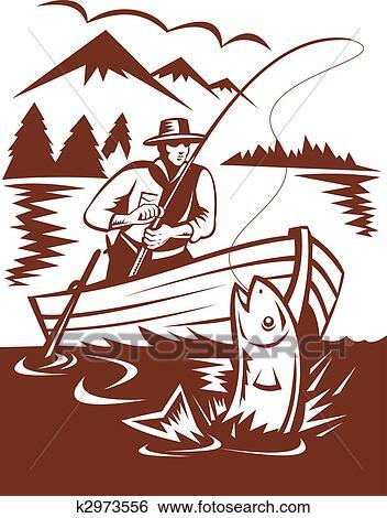 Banque d 39 illustrations p cheur mouche attraper truite - Dessin truite ...