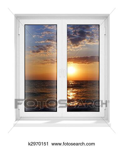 clipart new closed plastic glass window frame isolated fotosearch search clip art - Window Frame Art
