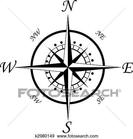 Clip Art Of Compass Symbol K2980149 Search Clipart Illustration