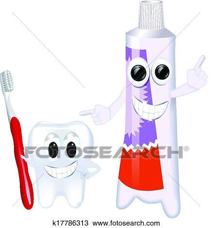clipart rigolote dentifrice et brosse dents k17786313