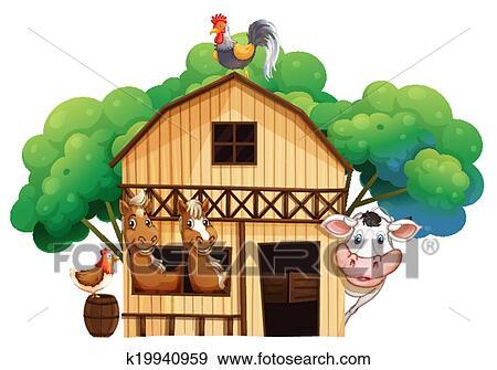 Clip Art Of A Farmhouse With Animals K19940959