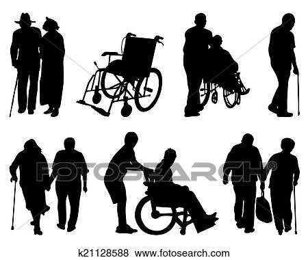 Clipart of Elderly people with walkers k21376201 - Search Clip Art ...