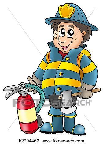 失量图库 消防队员, 握住, 灭火器