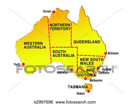 Stock Illustration Of Map Of Australia Showing Eight States And - Australia major cities map