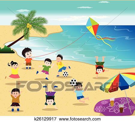 beach fun cartoon